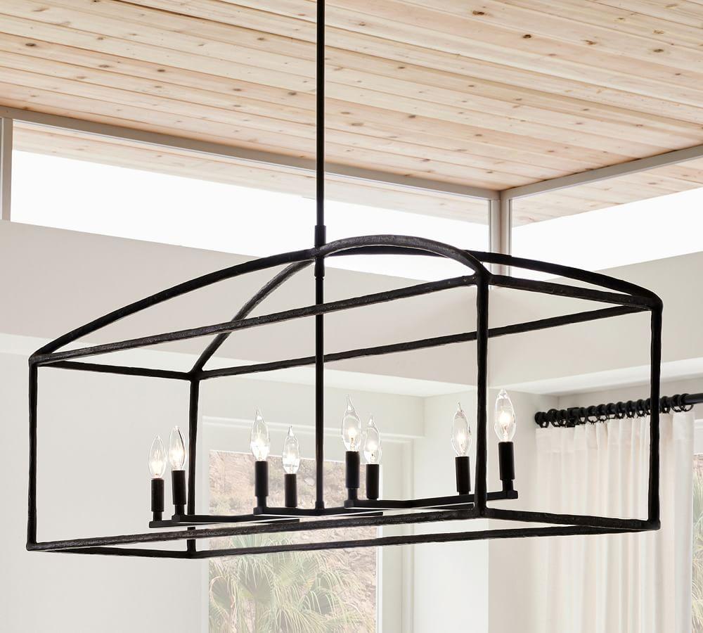 iron chandelier, lighting, modern decor, simple, black iron