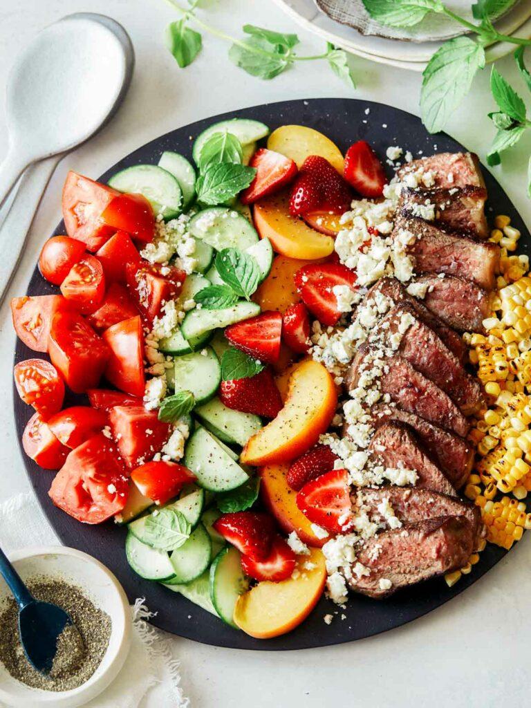steak salad, refreshing recipes, colorful salads