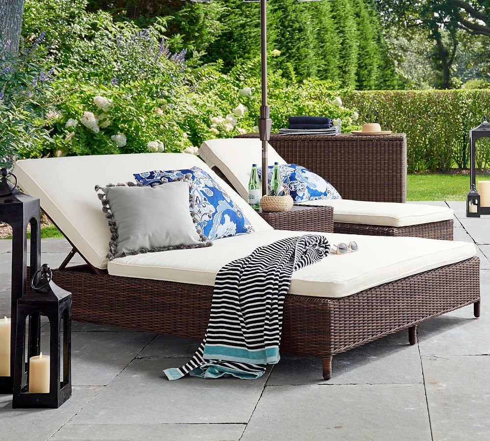 Wicker Double Chaise Lounge , patio design, diy, home decor